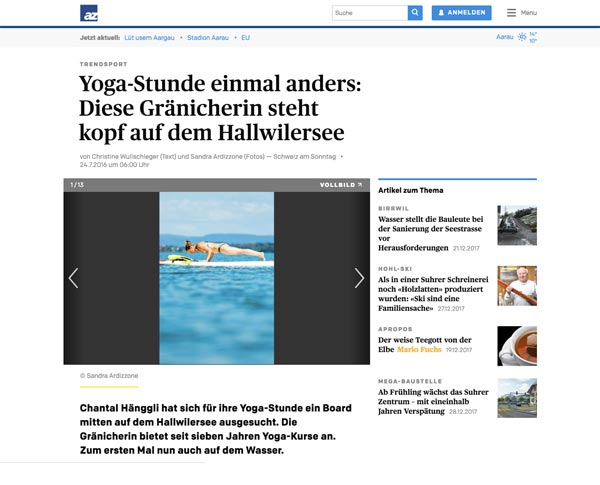 SUP Yoga Hallwilersee by Chantal Yoga - Aargauer Zeitung